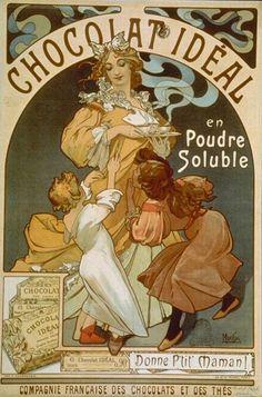 Chocolat Idéal - Mucha (1860 - 1939) A dessiné des affiches de théatre, des fresques, des vitraux, créé des costumes et bijoux pour Sarah Bernhardt. Nombreuses réalisations pour la publicité.