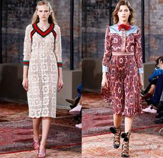 Gucci 2016 Resort Cruise Pre-Spring Womens Runway Catwalk Looks Collection New York - 1970s Seventies Hippie Bohemian Boho Chic Sheer Chiffon Lace Maxi Dress Goddess Georgette Gown Pussycat Bow Embroidery Bedazzled Flowers Florals Skirt Frock Knit Sweater Accordion Pleats Outerwear Coat Coatdress Blazer Pantsuit Bomber Jacket Ruffles Silk Zigzag Stripes Crochet V-Neck Quilted Snake Birds Stars Tiger Dragonflies