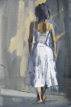 "Woman White   Oil 12 x 18"""