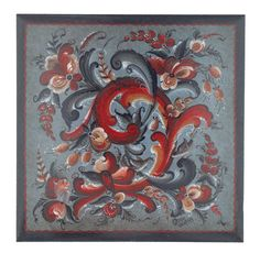 """Porcelain trivet/tile with rosemalling done in the Telemark style.  6"""" with cork backing"""
