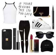 """If you're reading this it's too late"" by babygirl565001 on Polyvore featuring Miss Selfridge, NARS Cosmetics, Kevyn Aucoin, Chanel, Topshop, adidas, Hervé Léger, Prada, cute and hat"