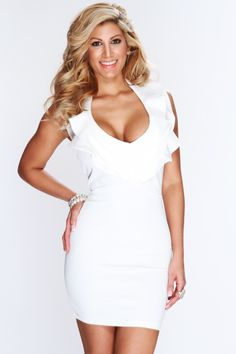 Show off your flair in this stunning sexy dress! Make an appearance in this dress and youll definitely be center of attention at any party/event. Youll sure be eye catching as soon as you step out the door! It features halter, v neck, ruffle trim, open back, back zipper closure, and fitted. 95% Polyester 5% Spandex.