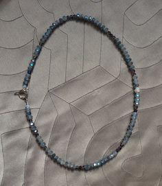 grey matte aurora borealis crystal rondells NECKLACE swarovski rhinestone saucer, bicons on Etsy, $38.00