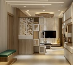 Here you will find photos of interior design ideas. Glass Partition Designs, Living Room Partition Design, Living Room Divider, Pooja Room Door Design, Living Room Tv Unit Designs, Ceiling Design Living Room, Home Room Design, House Design, Partition Walls