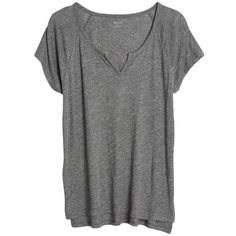 Women's Madewell Choral Split Neck Tee (€35) ❤ liked on Polyvore featuring tops, t-shirts, shirts, heather metal, tee-shirt, drapey tee, lightweight shirts, heather t shirt and madewell