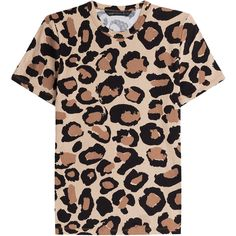 Marc by Marc Jacobs Printed Cotton T-Shirt ($110) ❤ liked on Polyvore featuring tops, t-shirts, animal prints, animal print tops, animal print tees, round neck t shirt, leopard print t shirt and leopard print tee