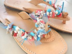 Summer leather sandals- Beaded sea shells leather sandals-Nautical sandals-Blue red  Natural sandals- Beach flats- Greek leather sandals