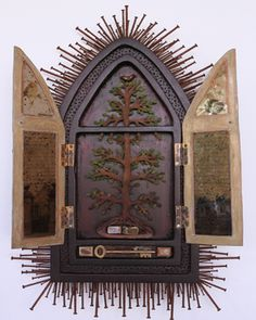 Hand carved shrine by Christine Atkins, an Australian artist working in fibre, metal, wood and found objects. Her work is deeply influenced by her background in psychology, art therapy and her personal connection to the landscape.