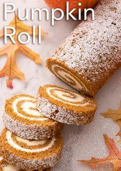 Thanksgiving Desserts, Holiday Desserts, Holiday Baking, Christmas Baking, Thanksgiving 2020, Pumpkin Roll Cake, Pumpkin Dessert, Pumpkin Rolls, Pumpkin Cakes