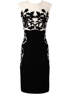 BOTTEGA VENETA Silk dress with velvet applique #black #white #fashion @ Farfetch