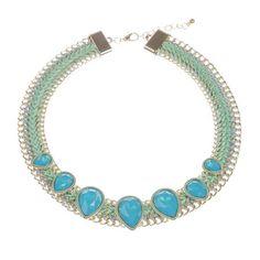 Sara Statement Necklace, Turquoise