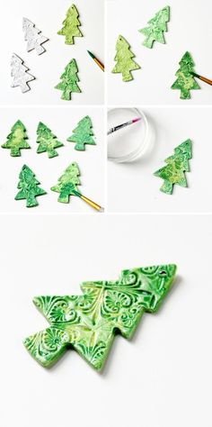 Faux glazed Diy Watercolour Clay Christmas Tree Decorations
