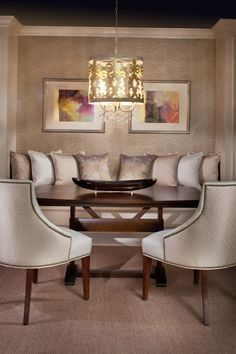 Cozy Dining Room  Love everything! Beautiful furnishings, lighting and banquette.