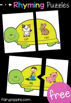 Turtle Rhyming Puzzles