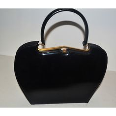 Sleek Black Patent Curved Purse