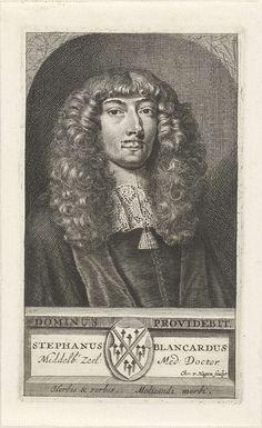 Christiaan Hagen | Portret van Steven Blankaart, Christiaan Hagen, c. 1663 - 1695 | Buste naar rechts van de arts Steven Blankaart. Onder zijn portret een plint met zijn naam en een familiewapen.