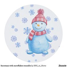 Snowman With Snowflakes Reusable Round Paper Coaster. Drink CoastersStocking  ...