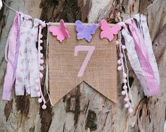 Creating the kids' best memories by LullabyGigi on Etsy Butterfly Birthday, Pink Butterfly, Girl Birthday, How To Make Ribbon, Fabric Ribbon, Best Memories, Decorative Pillows, Burlap, Banner