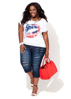 Ashley Stewart Short Sleeve Americana Lips Tee and Destructed Capris