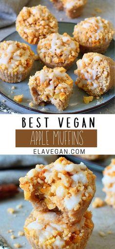 Apple Muffins Gluten Free, Apple Crumble Muffins, Sugar Free Muffins, Gluten Free Recipes For Breakfast, Vegan Dessert Recipes, Delicious Vegan Recipes, Brunch Recipes, Whole Food Recipes, Healthy Recipes