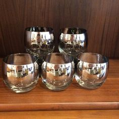 Queens Lusterware Ombre Fade Roly Poly Bar Glasses - Mid Century Modern Queens Lusterware Ombre Fade Roly Poly Bar Glasses . Great set of 5 cocktail glasses with great mirrored fade. In excellent condition!  - $40