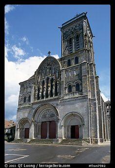 Facade of the Romanesque church of Vezelay. Burgundy, France