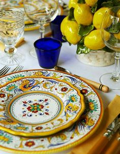 Deruda dishes. I collect them. Expensive but worth every penny for a beautiful table setting.