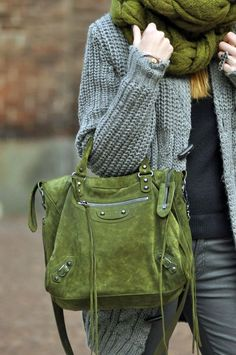 Green Handbag With Green Scarve. Gorgeous winter color combo.