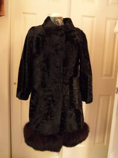 Vintage 60s Mod Crushed Velvet Coat Fur Trim by SusieQsVintageShop, $82.00