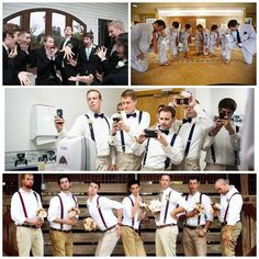 Groomsmen take series of photos acting out what they think the bride  bridesmaids will do for their photo shoot... the catch? The bride  bridesmaids act out what they think the groom  groomsmen will be doing.
