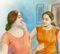 Indian Women Painting, Indian Art Paintings, Old Paintings, Beautiful Paintings, Sexy Painting, Painting Of Girl, Pictures To Draw, Art Pictures, Mother Art