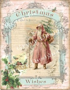 Christmas Card Wishes Birds Noel Tree Victorian by greerdesign Images Vintage, Vintage Christmas Images, Vintage Cards, Vintage Postcards, Shabby Chic Christmas, Victorian Christmas, Pink Christmas, Christmas Crafts, Christmas Mantles