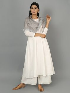 White Cotton Gota Kurta and Palazzo with Grey Silk Scarf - Set of 3 Indian Look, Indian Wear, Indian Dresses, Indian Outfits, Desi Wear, Full Length Gowns, White Suits, Formal Suits, Traditional Dresses