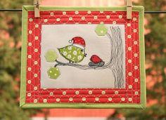 Birdie Christmas Mini mug rug