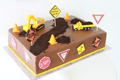 cute construction cake for boy's birthday
