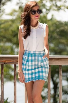 Classy Girls Wear Pearls: Gingham on Deck - Would change skirt color to navy/white and lengthen it to the knee.