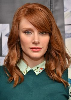 """Bryce Dallas Howard has a red hair color everyone loves. It's fiery and vibrant yet is still a deep red — it's perfect for fall. Look for terms like """"cinnamon"""" and """"copper"""" on at-home box kits.   - Cosmopolitan.com"""