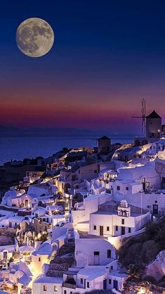 Greece Travel Inspiration - Beautiful full moon in Santorini, Greece. Places Around The World, The Places Youll Go, Travel Around The World, Places To Visit, Dream Vacations, Vacation Spots, Places To Travel, Travel Destinations, Greece Travel