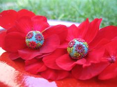 Earstud Earrings Polymer Clay  Embroidery by StoriesMadeByHands, $42.00