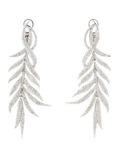 18K white gold dangling pavé encrusted diamond leaf earrings with omega back closure.