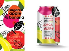 Cool soda | Sugared apple banana by Benny for Hiwow on Dribbble Brand Packaging, Packaging Design, Milk Tea Recipes, Soda Brands, Apple Tea, Beer Label, Show And Tell, Drink Bottles, Cool Stuff