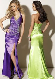 Sexy satin beaded halter lace-up back sleeveless long prom dress picture 2