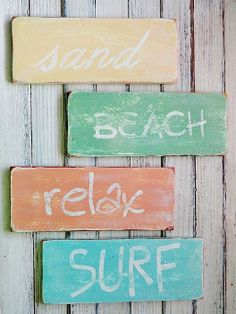 The Best Wooden Beach Signs You Can Buy at Beachfront Decor!  Beach wooden signs are perfect for wall decor in a coastal home.