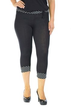32e468a0792 Womens Plus Size Leggings Ladies Polka Dot Print Tie Band Cropped Nouvelle
