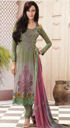 Green Full Sleeve Faux Georgette Long Churidar Suit 19751