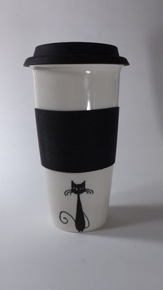 Black Cat Ceramic Travel Mug with Lid and removable by stickmen, $32.99