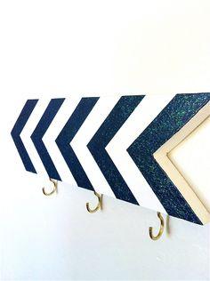 Wall hook - chevrons - navy blue sparkle glitter - entryway foyer - key holder - geometric - striped - nautical - arrows. $30.00, via Etsy.