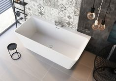 Milo White Freestanding Acrylic Bath with Wide Edge for Bath-Mounted Tap Exclusive to Easy Bathrooms