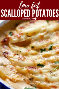 These low-fat scalloped potatoes bake up in a thick, creamy, Parmesan cheese sauce while still managing to come in at 3 grams of fat per serving with 4 grams of fiber. Warm, cheesy goodness everyone will enjoy! A great side dish to any holiday meal or din Potato Dishes, Potato Recipes, Veggie Recipes, Vegetarian Recipes, Cooking Recipes, Healthy Potatoes, Low Fat Diets, Low Fat Meals, Kitchens