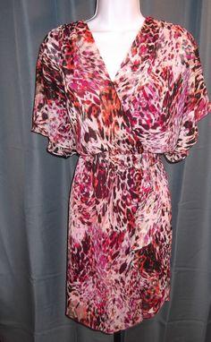 Donna Ricco Fuchsia Pink Animal Print Dress New Wrap Bodice Ruffle Front 4 or 8 #DonnaRicco #Blouson